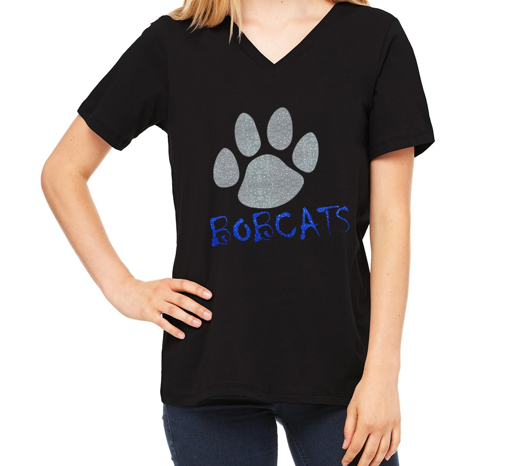Bella Missy Bobcats with Paw in Glitter on Black