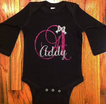 Monogram Letter in Glitter on Onesie