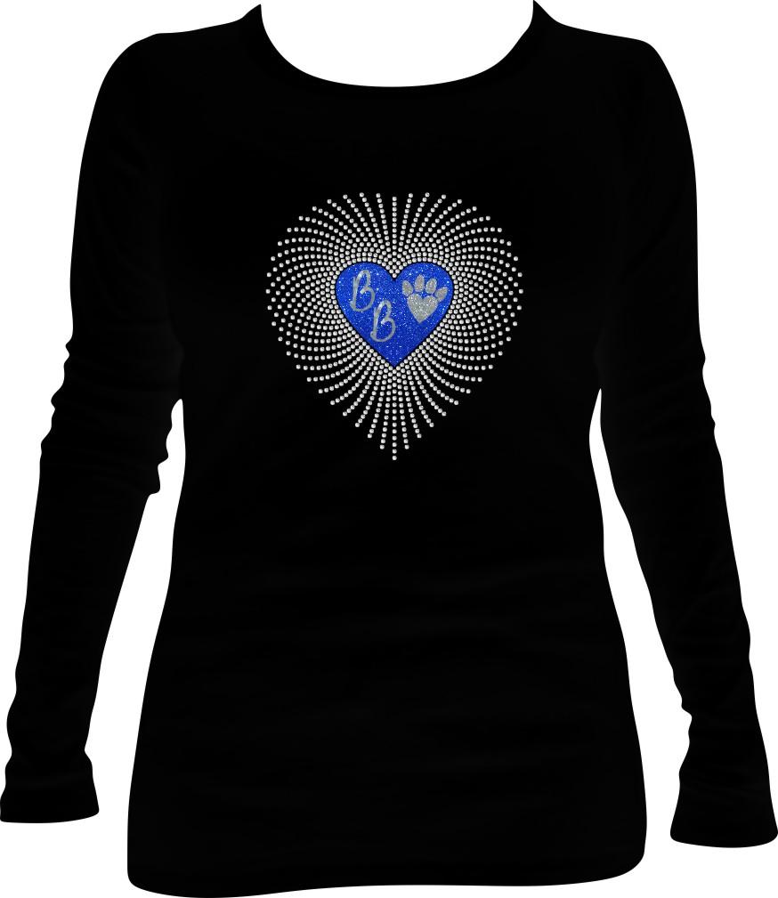 BB Glitter and Rhinestone Faded Heart