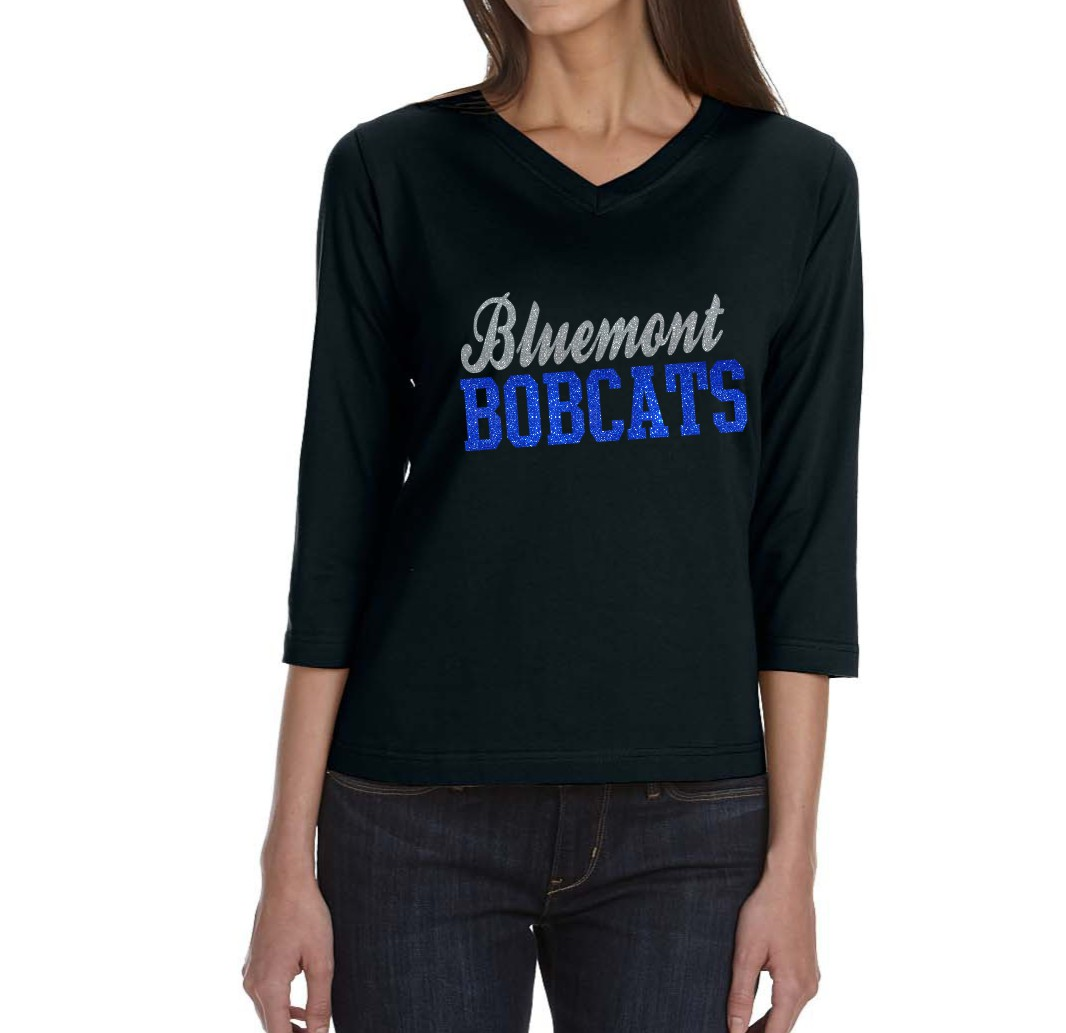 LAT 3/4 V-Neck with Glitter Bluemont Bobcats