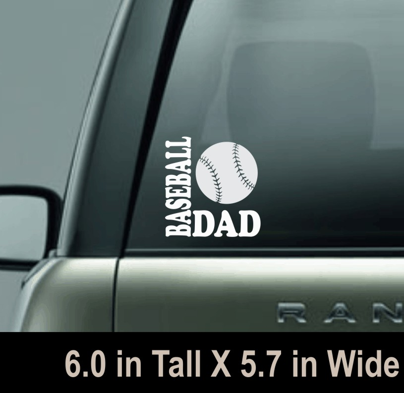 Baseball Dad White Vinyl Window Decal