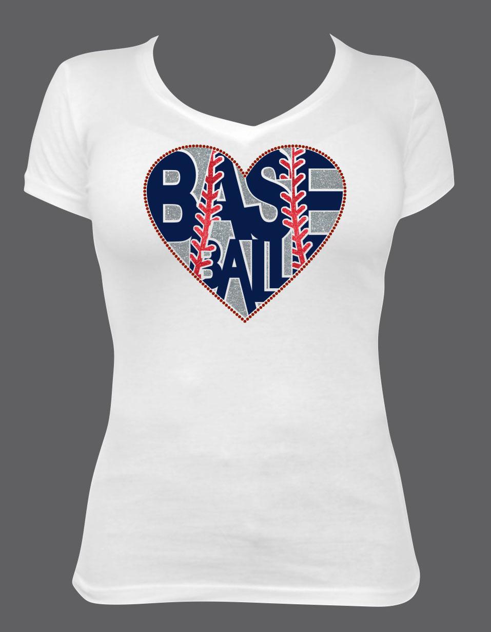 Baseball Heart in Glitter with Rhinestone Outline
