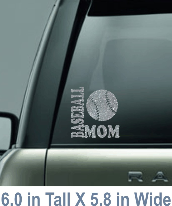 Glitter Baseball Mom Decal