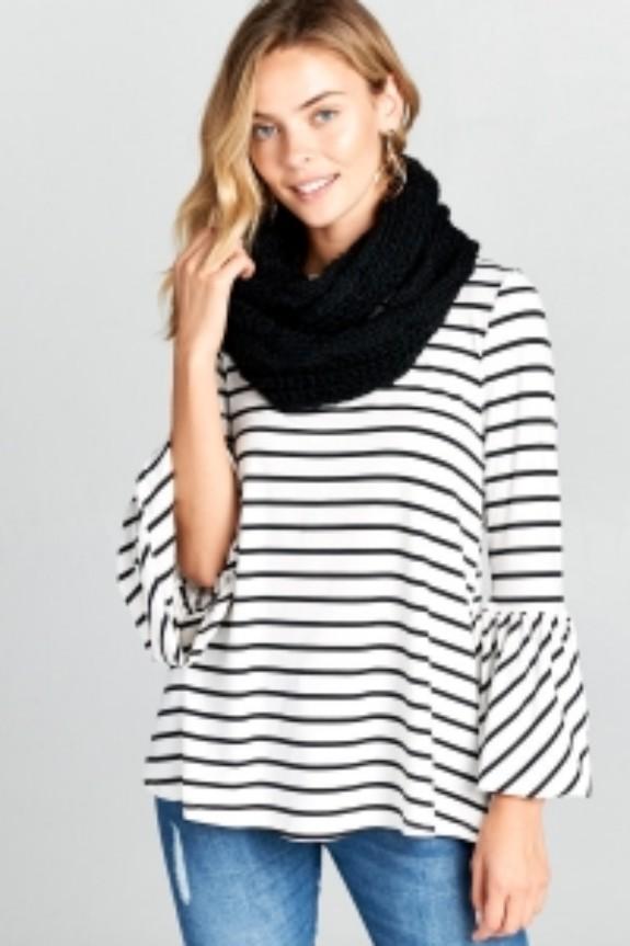 Black and White Stripe Top