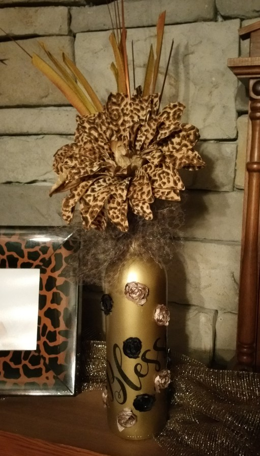 Gold Blessed Wine Bottle with Leopard Print Flower