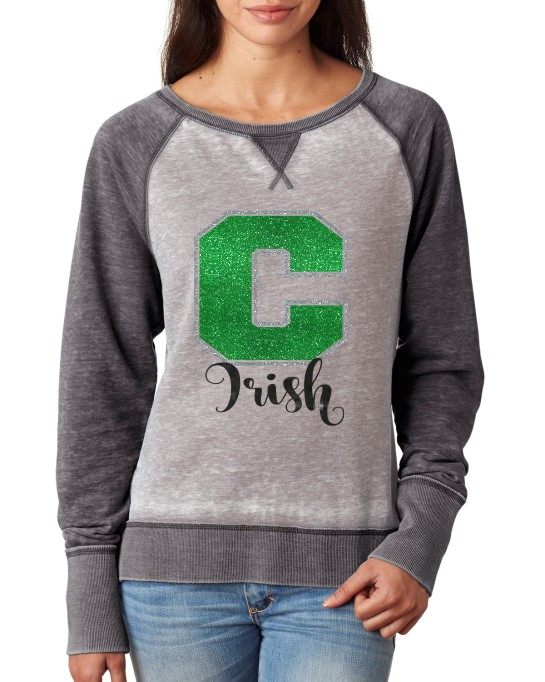 Ladies Irish Glitter Contrast Sweatshirt J America