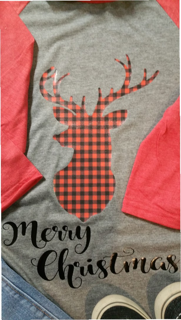 Checkered Deer Baseball Tee