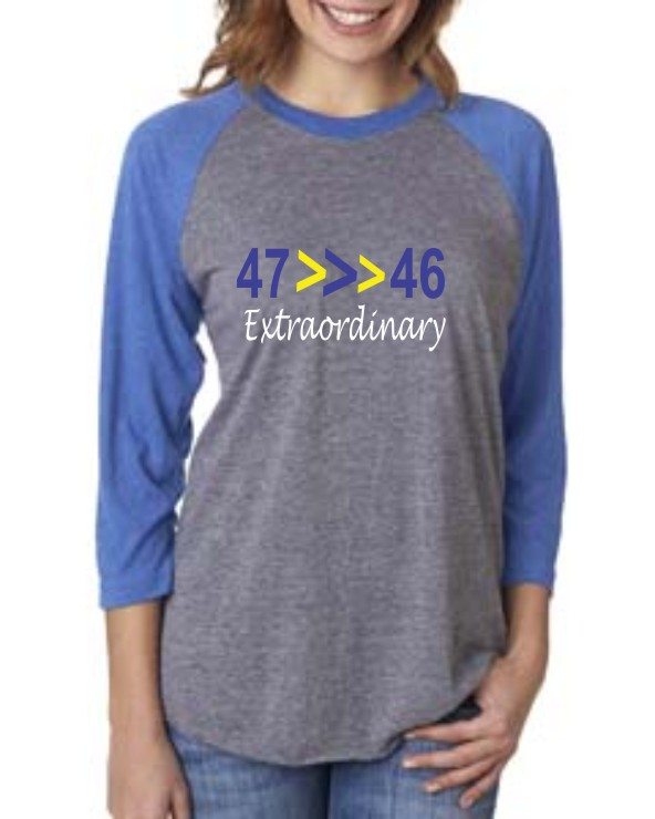 Glitter Downs Syndrome Baseball Tee Extraordinary