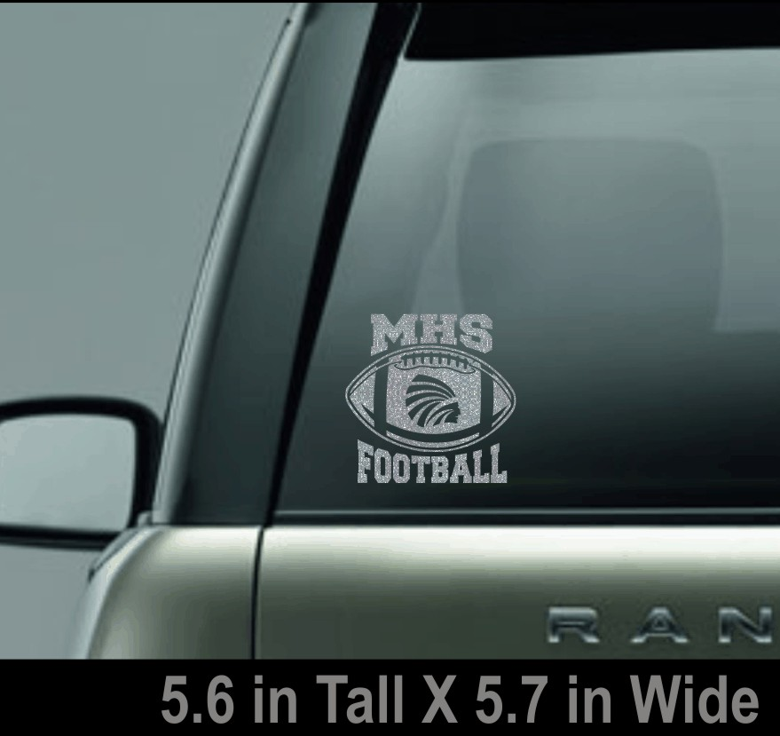 Silver Glitter MHS Football Window Decal