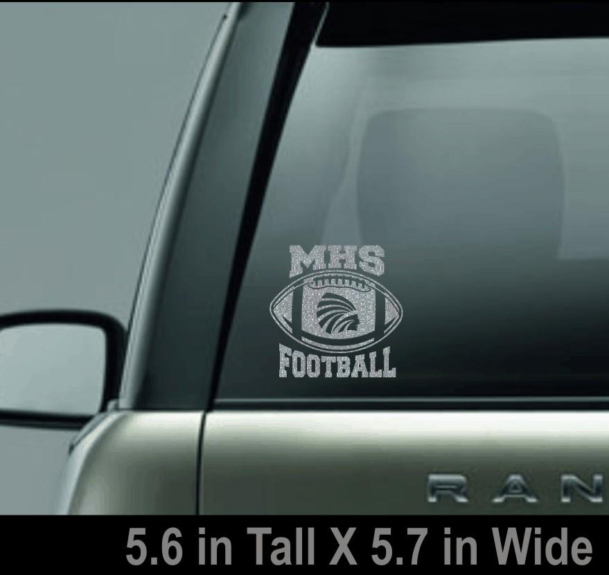 Silver Glitter MHS Football Window Decal
