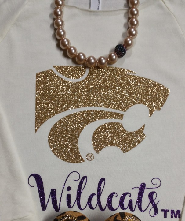 Gold Glitter Power Cat on Cream 3/4 Raglan