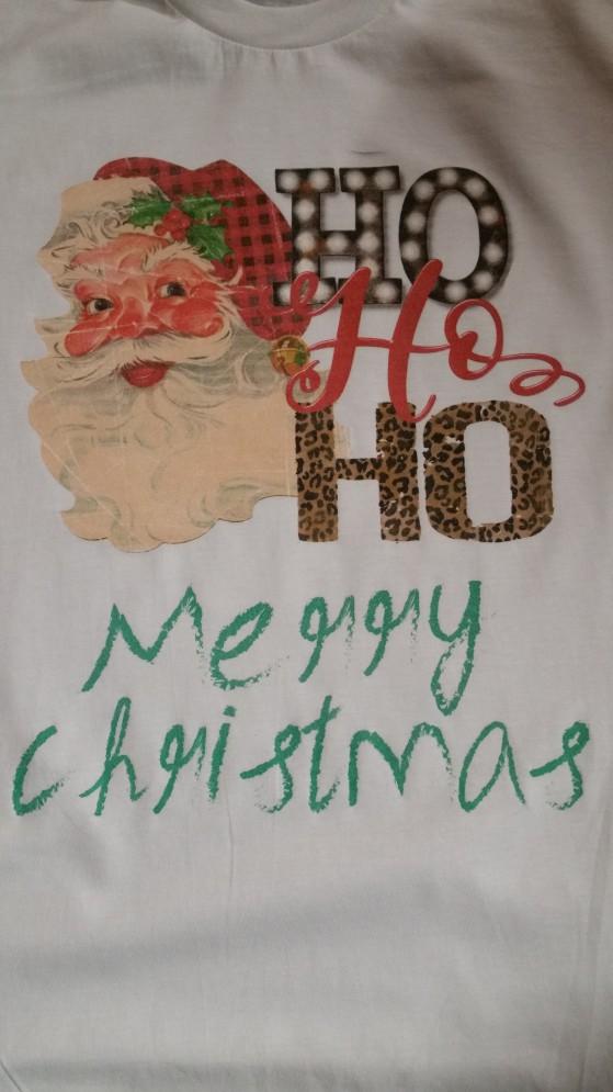 Santa HO HO Merry Christmas Print Tee