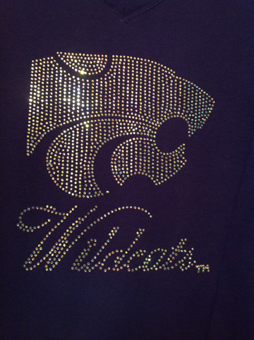 Power Cat and Wildcats Script in Iridescent Rhinestones