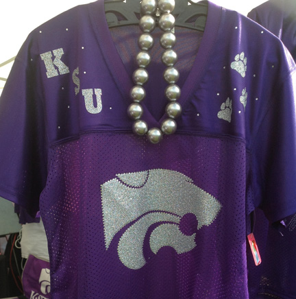 Purple KSU Replica Jersey Tee with Silver Power Cat, Paws and Rhinestones