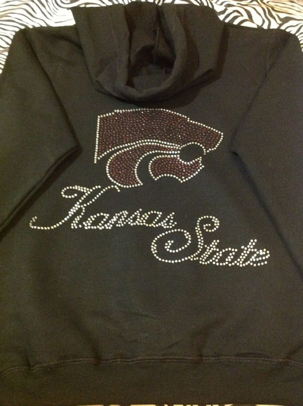 KSU Zip Up Hoodie Back