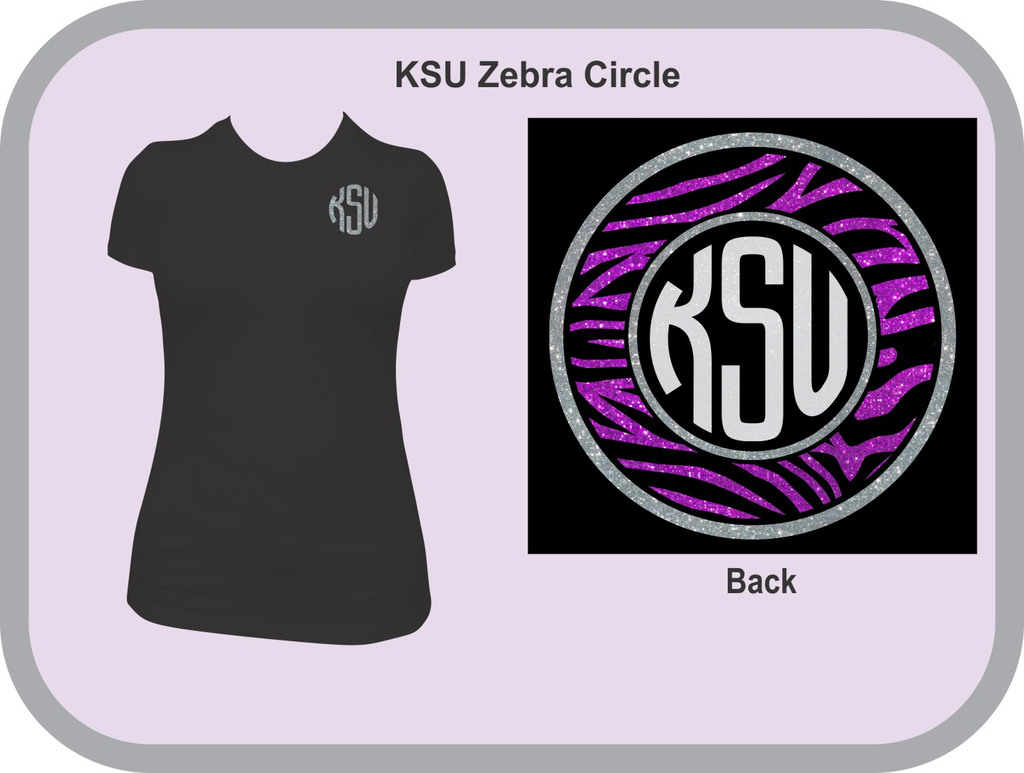 Monogram Zebra Glitter Circle Front and Back