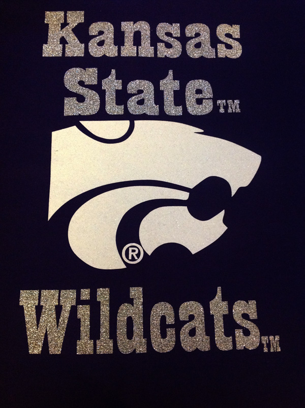 Silver and White Glitter Kansas State Wildcats Purple Blanket