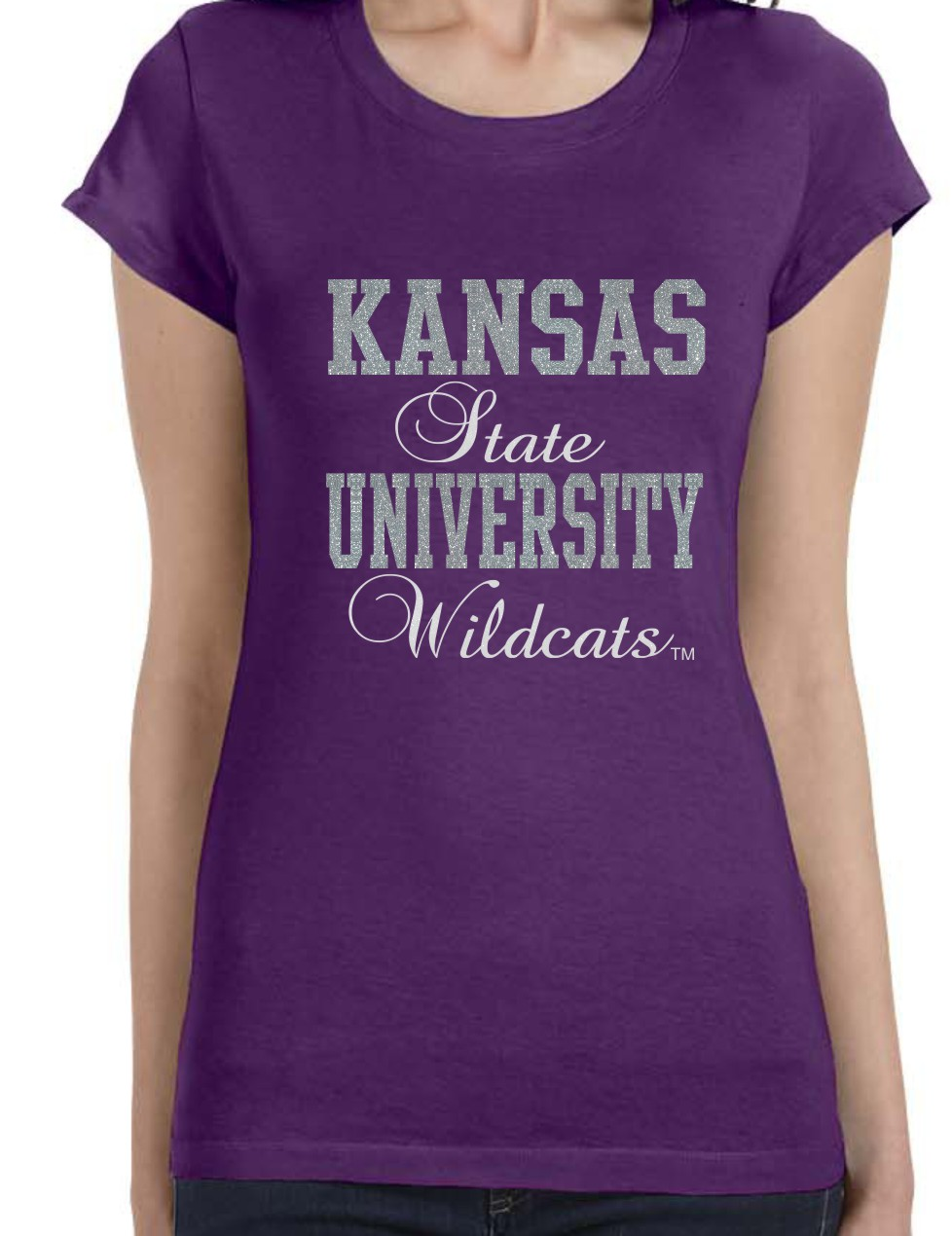 Kansas State University Wildcats in Silver and White Glitter
