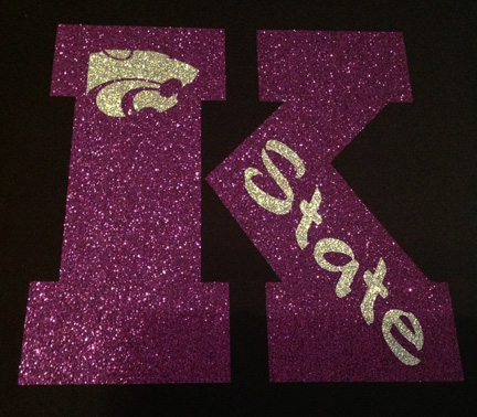 Large Purple Glitter K with Power Cat