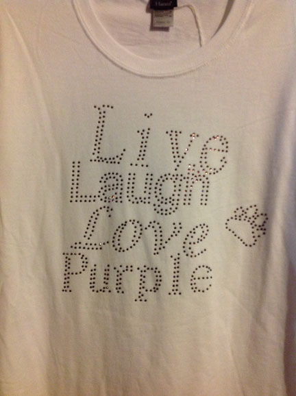 White Live Laugh Love Purple Rhinestone T-Shirt