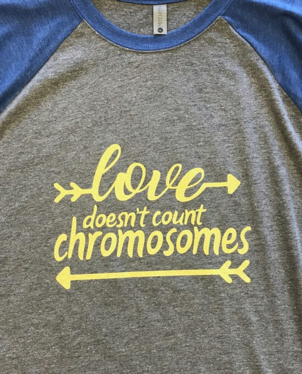 Glitter Downs Syndrome Baseball Tee Love Doesn't Count Chromosomes