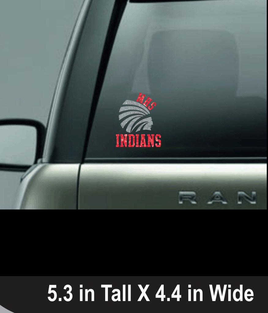 Decal with MHS Indians Glitter