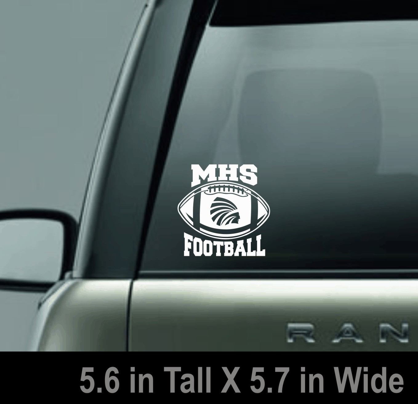 White MHS Football Decal with Power Indian