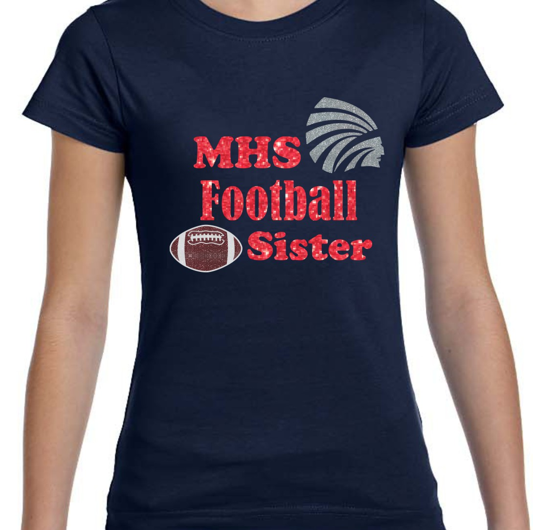 Girls Red Glitter MHS Football Sister