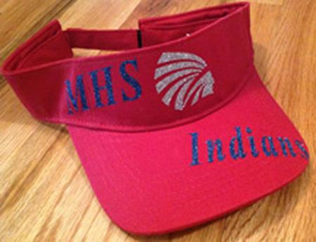 Red MHS Indians Glitter Visor