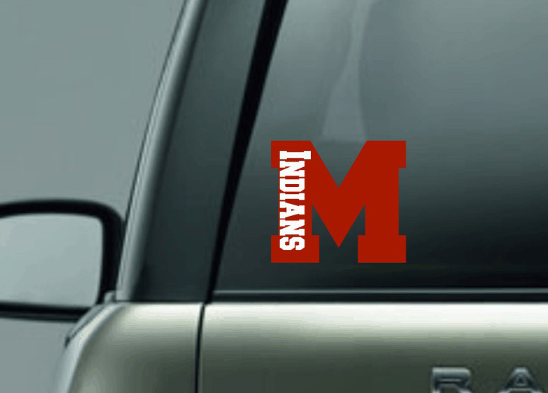 M with Indians Car Decal in Plain Vinyl