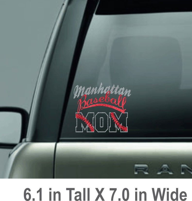 Glitter Manhattan Baseball Mom Decal
