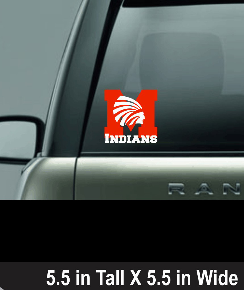Red and White Vinyl Power Indian M Window Decal