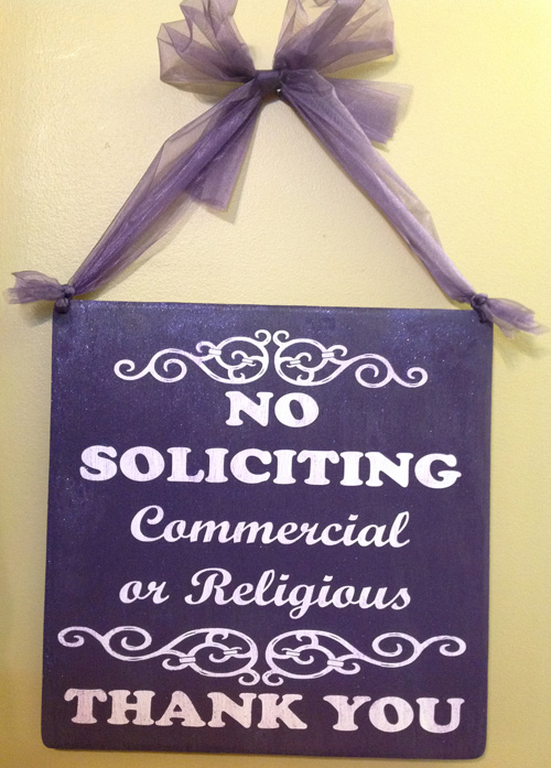 No Soliciting Sign in Purple