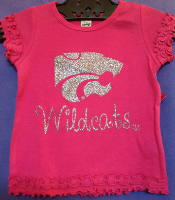 Girls Pink Ruffled Confetti Power Cat & Wildcat Shirt