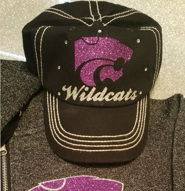 Glitter Power Cat Cap with Rhinestones