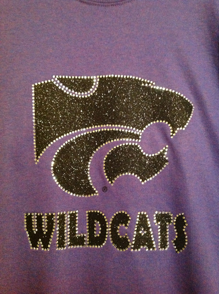 Purple Marble T with Black Glitter Power Cat and Wildcats with Rhinestone Outline