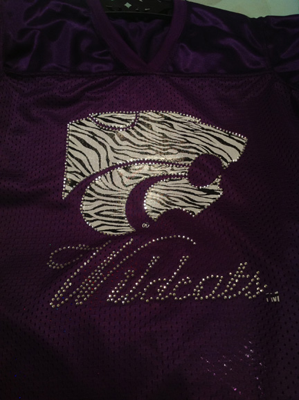 Purple Zebra Print and Rhinestone Wildcats Replica Jersey Tee
