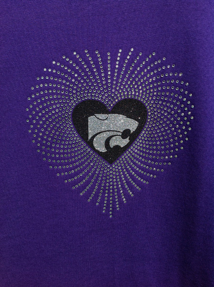 Purple Shirt with Rhinestone Heart and Silver Power Cat