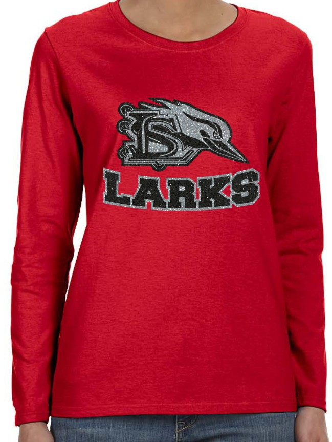 Sublette Glitter Ladies Gildan Red Long Sleeve T-Shirt