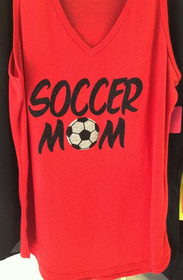 Red V-Neck Soccer Mom Tank Top