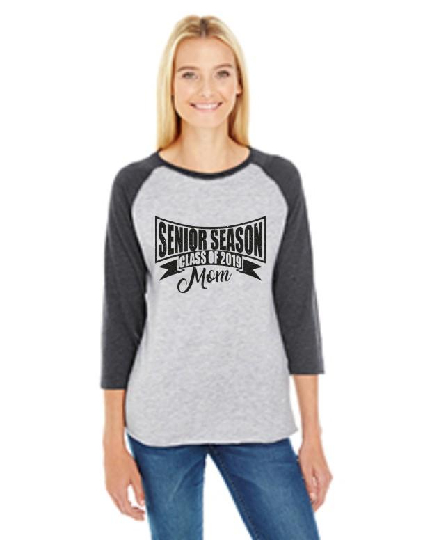 2019 Senior Mom 2 LAT Ladies' Baseball Fine Jersey T-Shirt