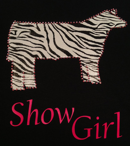 Zebra Show Steer Show Girl Shirt