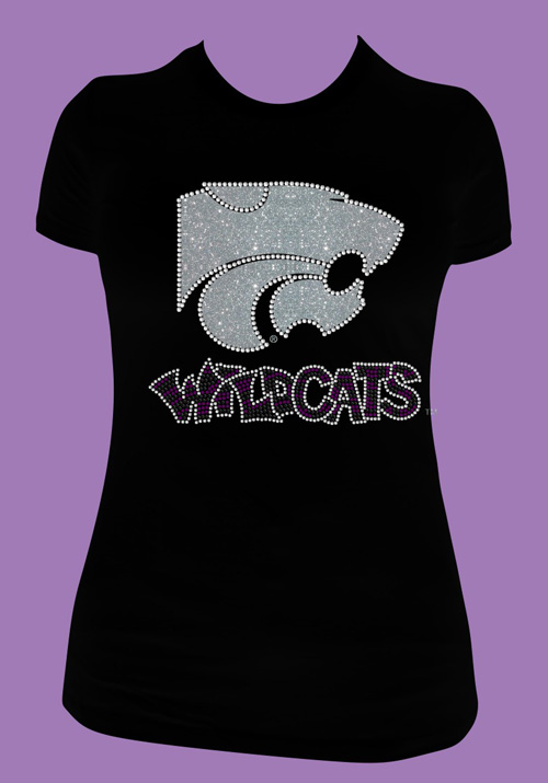 Silver Glitter Power Cat with 3 Color Rhinestone Wildcats