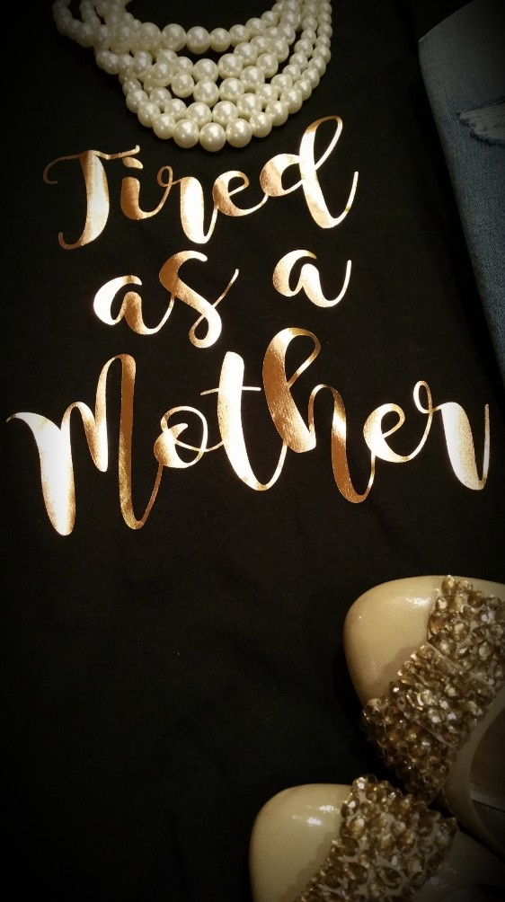 Tired as a Mother Graphic Tee in Rose Gold Foil