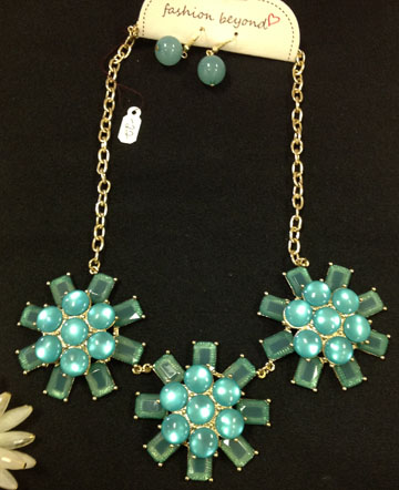 Turquoise and Gold Necklace Set