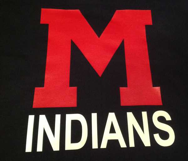 Vinyl Red M and Indians on Navy Blanket