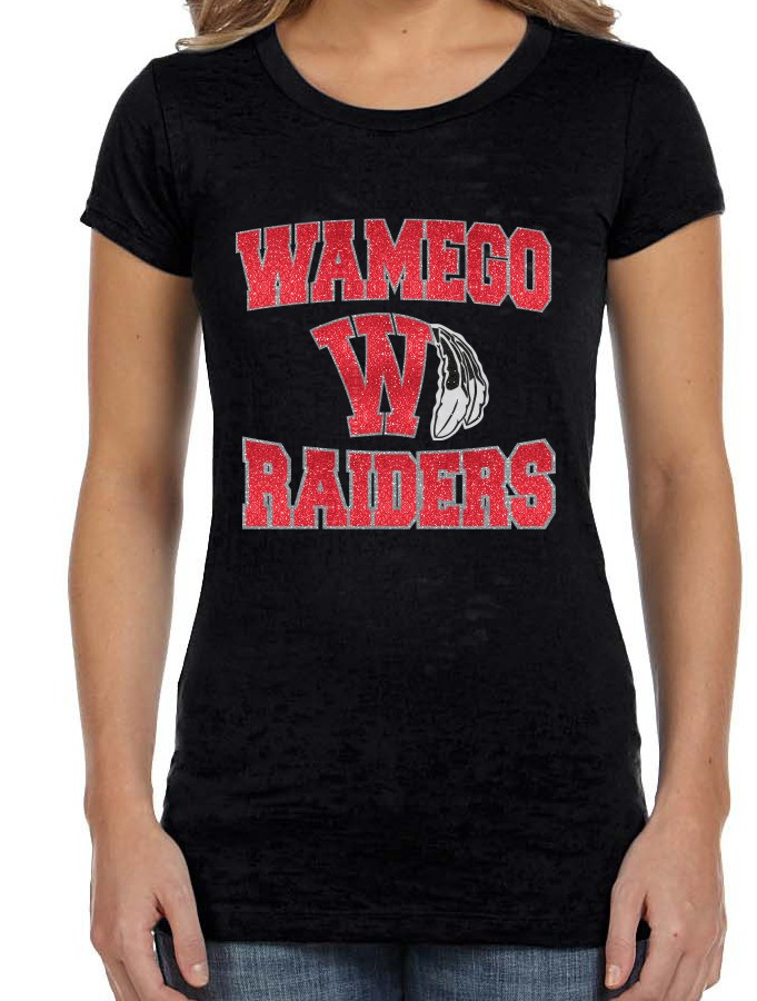 WAMEGO RAIDERS WITH W AND FEATHERS ON BELLA BURNOUT