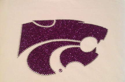 White Top with Purple Glitter Power Cat