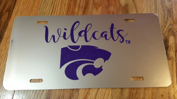 Kansas State Power Cat Wildcats Glitter Chrome License Plate