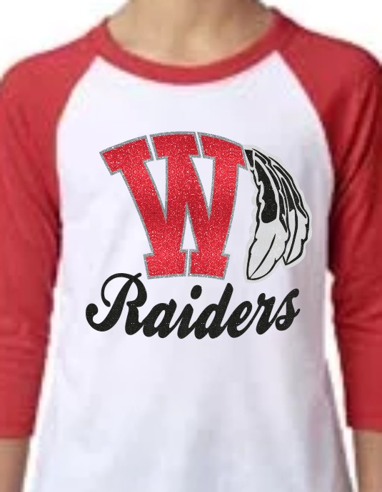 Youth Glitter Raider Baseball Tee